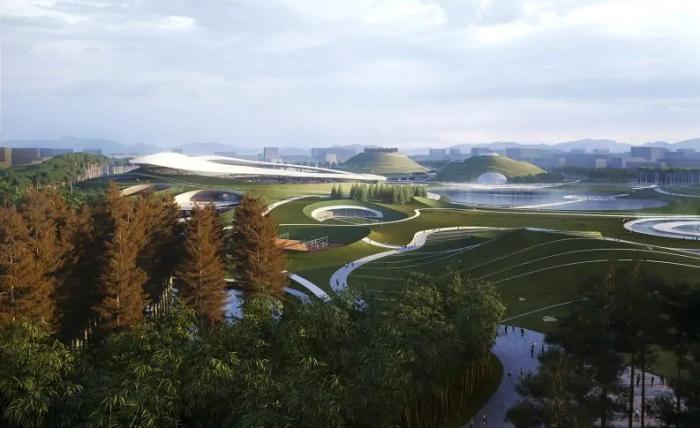 В Китае строится спортивный комплекс-городок, утопающий в зелени