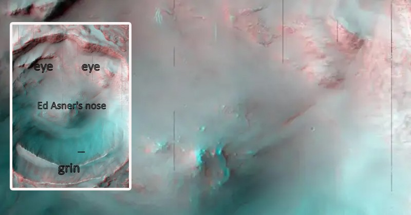 Аппарат НАСА запечатлел «ухмыляющееся лицо» на поверхности Марса