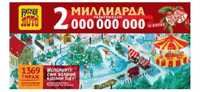 Какие билеты стали выигрышными в «Новогоднем миллиарде» от «Русского лото», проведённого 1 января 2021 года